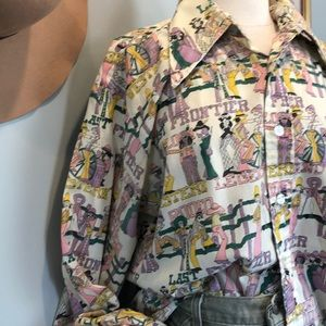 Vintage Frontier Print Button Down Shirt